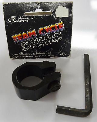 Black Bike Seat Post Frame Clamp Alloy 25.4 1 In for Old Mid School BMX Bicycle