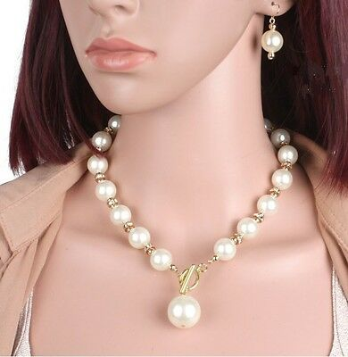 14mm CREAM  FAUX PEARL & DIAMANTE CRYSTAL RONDELL TOGGLE CHOKER NECKLACE SET