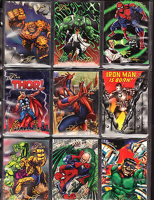 Complete Set Marvel Flair Trading Cards Spider-Man Hulk Thor 150