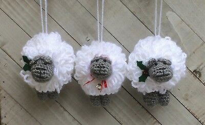Christmas Holiday Sheep Crochet Ornament Kit makes 3