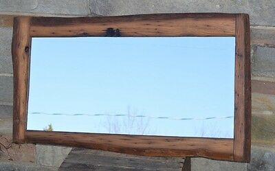 "41"" WORMY CHESTNUT LIVE EDGE MIRROR HANDCRAFTED w/150 YEAR OLD WOOD HZ #16ET20"