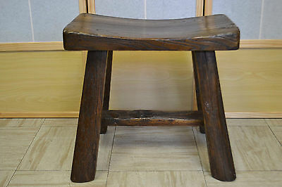 Asian Chinese Traditional Style Solid Natural Wood Seat Sitting Stool ST-01