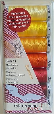 Gutermann Machine Embroidery Rayon 40 Thread Set / Pack  'sunrise'