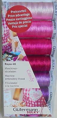 Gutermann Machine Embroidery Thread Set - Pack 'candy' Pinks And Purples