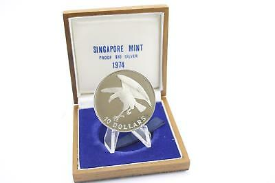 1974 Singapore Mint Silver Proof $10 Coin Wooden Cased
