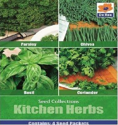 De Ree Seeds Kitchen Herb Seed Collection - Basil - Chives - Coriander - Parsley