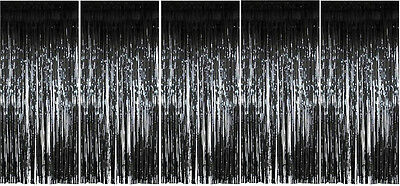 Pack of 5 Black Foil Door Shimmer Curtains - Party Decorations