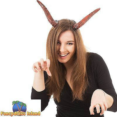 DEVIL DEMON CURVED HORNS HALLOWEEN HEADBAND - ladies mens fancy dress costume