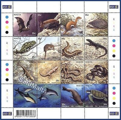 2004 Malta Sheetlet of 16 MAMMALS REPTILES Stamps Mint Never Hinged MNH 1307