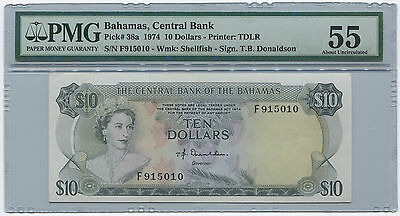 1974 Bahamas Central Bank $10 Dollars. Tough Issue. PMG AU55. T.B. Donaldson