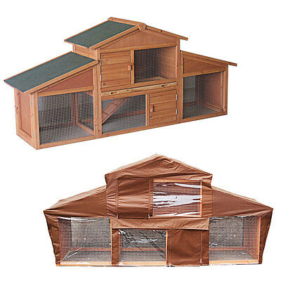 Large Wooden Rabbit Hutch And Run With Cover Outdoor Pet Ferret Guinea Pig House