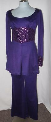 70s Vtg Purple Sequins Mod Bell Bottom 2-Pc Outfit Disco Fredericks Hollywood 11