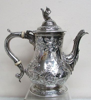 1861 Bailey & Co. George Sharp Sterling Silver Floral Tea Pot W/ Squirrel Top