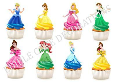 30 Disney Princess STAND UP Cupcake Fairy Cake Toppers Edible Rice Decorations