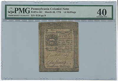 Pennsylvania Colonial Note. FR#PA-161. March 20, 1773. 14 Shillings. PMG XF40