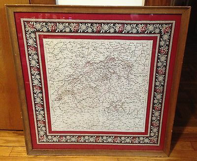 Large rare antique 1880s color road map of Switzerland printed on linen w/frame