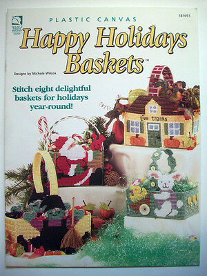 Holiday Porch Personalities Santa Witch Turkey plastic canvas pattern book NEW