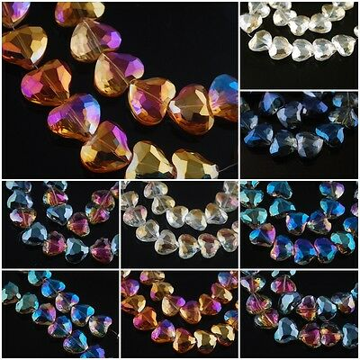 Faceted Pearl Glass Charms Heart DIY Jewelry Finding Spacer Beads 20x16mm 5/20Pc