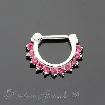 Hot Pink Cz Silver Surgical Steel Septum Lip Nose Hinged Daith Clicker Earring