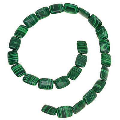 1string Dark Green Square Stripe Loose Spacer Malachite Bead Fit Necklaces LC