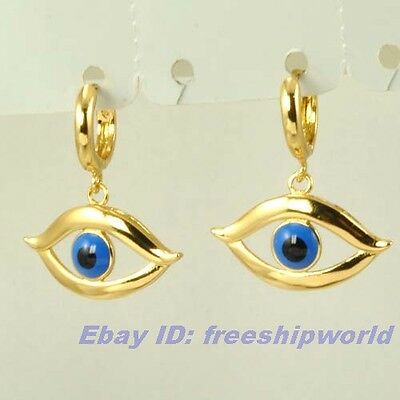 3pair Wholesale REAL UNIQUE 18K YELLOW GOLD GP DANGLE EARRING ANGEL EYE SOLID