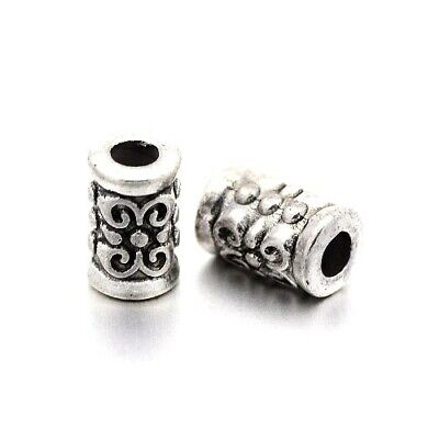 Tibetan Tube Spacer Beads 5 x 7mm Antique Silver 30 Pcs Art Hobby DIY Jewellery