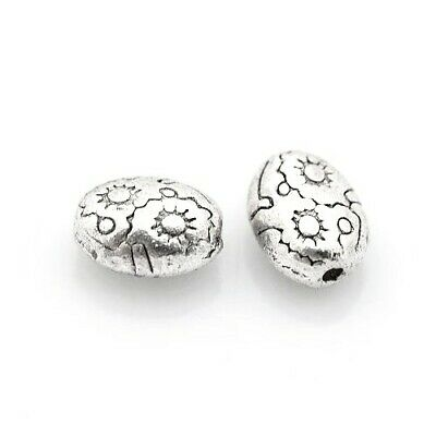 Packet of 30 x Antique Silver Tibetan 6 x 8mm Oval Spacer Beads HA17525