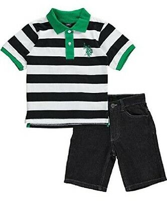 """U.S. Polo Assn. Little Boys' """"Spencer"""" 2-Piece Outfit, Kelly Green, 4"""