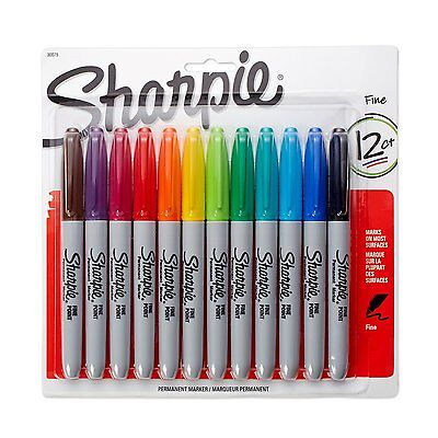 Sharpie Fine Point Permanent Markers, 12Pack, Assorted Colors, New