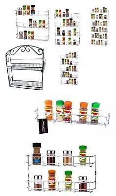 Chrome Spice Herb Rack Holder Storer Storage Wall Mounted Kitchen Cupboard
