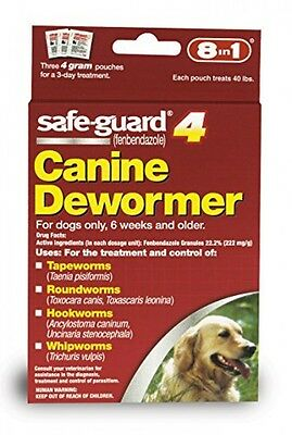 Safe Guard Canine Dewormer for Large Dogs, 4Gram, New, Free Shipping