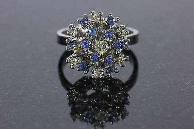 Womens Sz 8.5 Cocktail Ring Blue Clear Rhinestones 18KHGEG Electroplated Jewelry