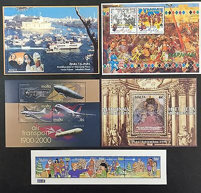 Malta Stamps Miniature Sheets 18 - 22 Mint Never Hinged MNH Pope Planes Religous