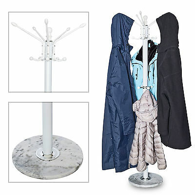 Metal Hat Coat Jacket Umbrella Scarf Hanger Stand Rack Hall Storage Marble Base