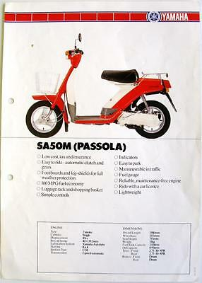 YAMAHA SA50M Passola - Scooter Spec Sheet/Brochure - 1982