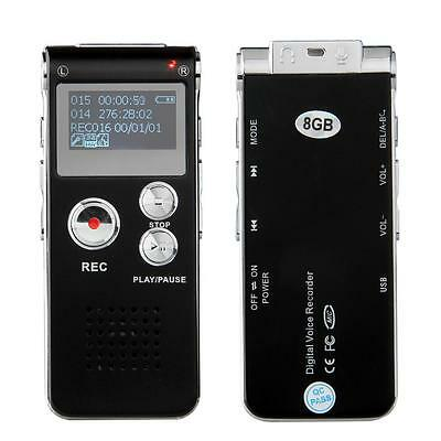 8GB Rechargeable Audio Voice Recorder Dictaphone MP3 Player Mic Flash Drive Pen