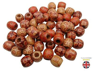 Mixed Painted Wooden Drum Beads 16mm Beads Jewellery Ethnic Craft Tribal ML