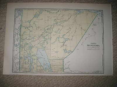 Superb Rare Antique 1930 North Northern Manitoba Canada Map Nelson Lake Winnipeg