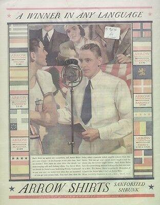 "Arrow Shirts 1932 Vintage Clothing Ad ""Winner Any Language"" Antique Microphone"