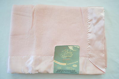 """Vintage Pepperell Pink Baby Blanket Satin Edge 48"""" x 35"""" Tag Attached NapGuard"""