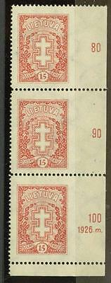 Lithuania Sc. 214 vert. strip of three, IMPERF. at R, MNH,  scarce variety!