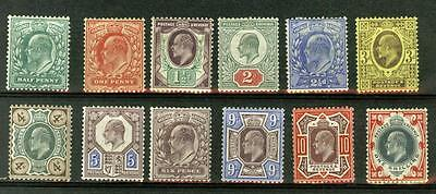 Great Britain KEVII 1d -1s mint hinged,  Sc.127-138