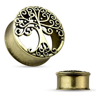 Pair of Large Antique Gold IP Tree Of Life Design Flared Tunnels Ear Plugs