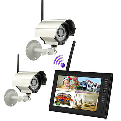 """Wireless 7"""" TFT LCD 2.4G 4CH Home DVR CCTV Security System Monitor IR Cameras US"""