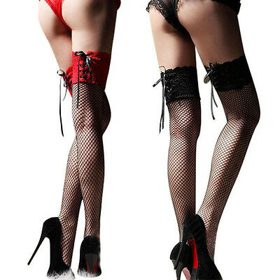 Women Girls Skinny Lace Net Stockings Over Knee Fashion Thigh High Stockings