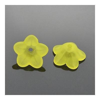 Packet 50+ Yellow Lucite 7 x 13mm Flower Beads HA26050