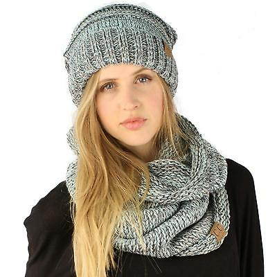 Winter Set Oversized Chunky Knit Slouch Beanie Ski Hat Hood Cowl Scarf Mix Mint