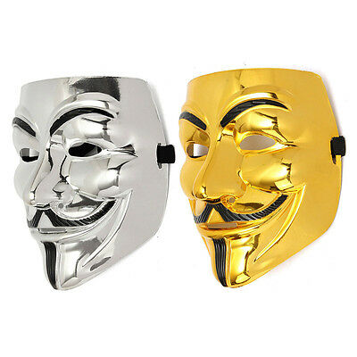 Gold/Silver V para Vendetta Guy Fawkes Mask Anonymous Halloween Cosplay Disfrace