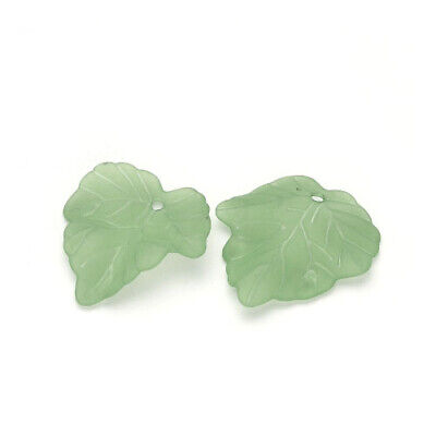 Packet 30 x Green Lucite 22.5 x 24mm Leaf Beads HA26715