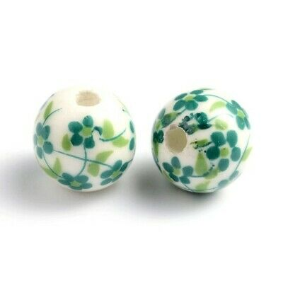 Porcelain Round Beads 12mm White/Green 10 Pcs Art Hobby Jewellery Making Crafts